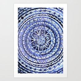 Blue and White Portuguese Porcelain Plate Art Print