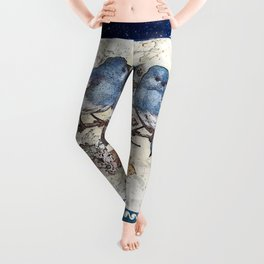 Vintage Blue Birds Leggings