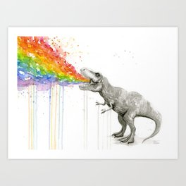 T-Rex Dinosaur Rainbow Puke Taste the Rainbow Watercolor Art Print
