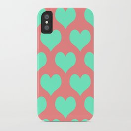 Hearts of Love Coral Mint  iPhone Case