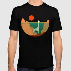 Giraffe Aquatic Scene Black Mens Fitted Tee MEDIUM