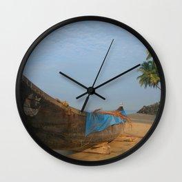 Boat and Palms on Black Beach Varkala Wall Clock