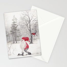 Gnome and bullfinch Stationery Cards