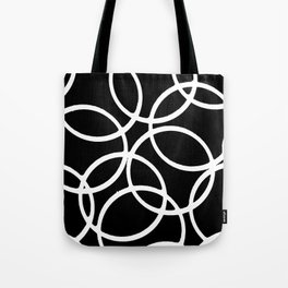 Interlocking White Circles Artistic Design Tote Bag