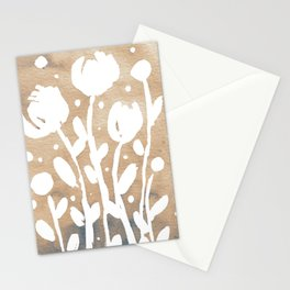 Whimsical watercolor flowers – neutral Stationery Cards