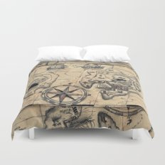 Old Nautical Map Duvet Cover