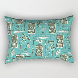 Tropical Tiki - Aqua Rectangular Pillow