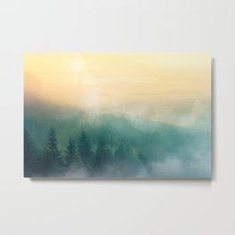 Foggy Forest Mountain Sunrise (Color) Metal Print