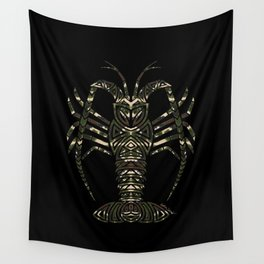 Tribal Camouflage Spiny Lobster on Black Wall Tapestry