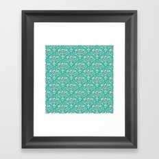 damask pattern torquoise with shadow Framed Art Print