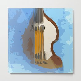 Guitar Bass blue background Metal Print