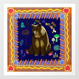 Bohemian Woodland Bear Art Print
