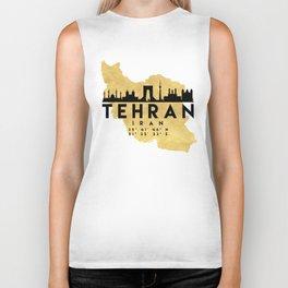 TEHRAN IRAN SILHOUETTE SKYLINE MAP ART Biker Tank