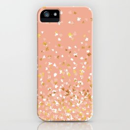 Floating Confetti - Peach and Gold iPhone Case