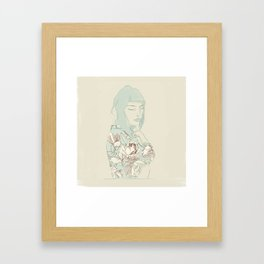 Girl with the blue hair Framed Art Print