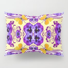 GOLDEN BUTTERFLIES & PURPLE PANSY FLOWERS Pillow Sham