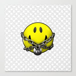 Quit Your Grinning / 3D chained up smiley Canvas Print