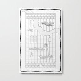 Enclosed Garden I  / Architectural Axonometric Art Print Metal Print