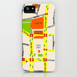 Tel Aviv map design - written in Hebrew iPhone Case