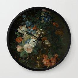 Coenraet Roepel - Still Life With Flowers Wall Clock