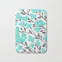Cherry Blossoms – Turquoise & Black Palette Bath Mat
