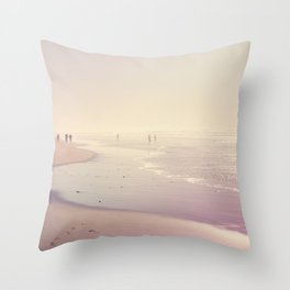 A Day at the Pink Beach Throw Pillow