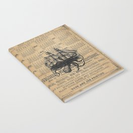 Octopus Kraken attacking Ship Antique Almanac Paper Notebook