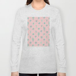 Little succulent pattern on pastel pink Long Sleeve T-shirt