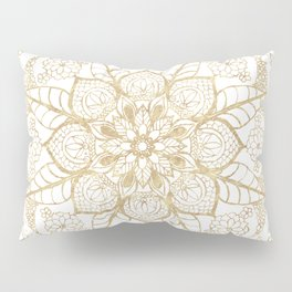 Stylish boho hand drawn golden mandala Pillow Sham