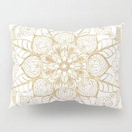 Stylish boho hand drawn golden mandala Pillow Sham
