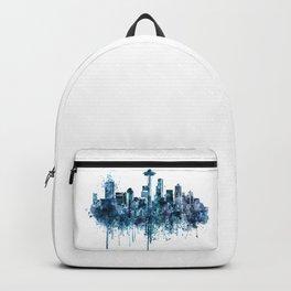 Seattle Skyline monochrome watercolor Backpack