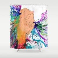 revolution Shower Curtains featuring Art Revolution by Estrella Nicolas