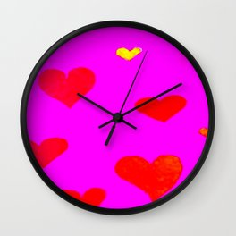 Red and Pink Falling Hearts Wall Clock