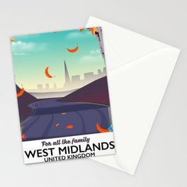West Midlands, Cartoon travel poster Stationery Cards