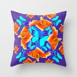 BLUE BUTTERFLIES & GOLDFISH PURPLE  ART Throw Pillow