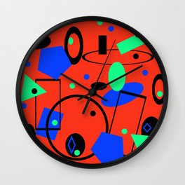 Retro abstract red print Wall Clock