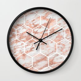 Rose gold marble hexagon honeycomb Wall Clock