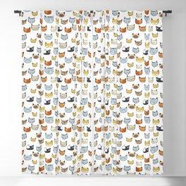 Cat Face Doodle Pattern Blackout Curtain