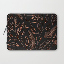 Holiday Pattern in black background and rose leaves Laptop Sleeve