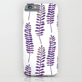 Watercolour Fern Pattern | Purple and Gold iPhone Case