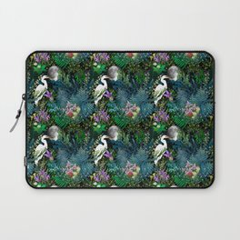 Egret In A Bog Garden Under A Full Moon Laptop Sleeve