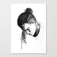 harry styles Canvas Prints featuring Braids by Judit Mallol