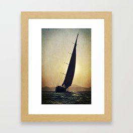 sailboat and sunset Framed Art Print