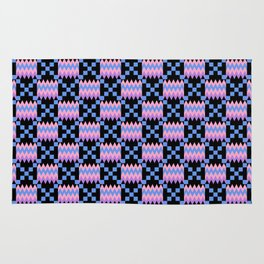 Cornflower Blue, Carnation Pink, Lavender Purple Kente Cloth on Black Rug
