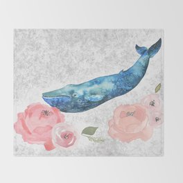 Whale Amongst the Roses Throw Blanket