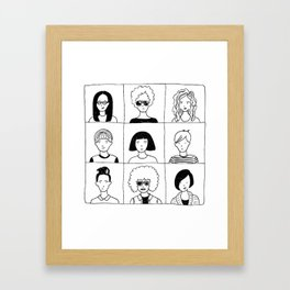 Nine people and their favorite haircuts Framed Art Print
