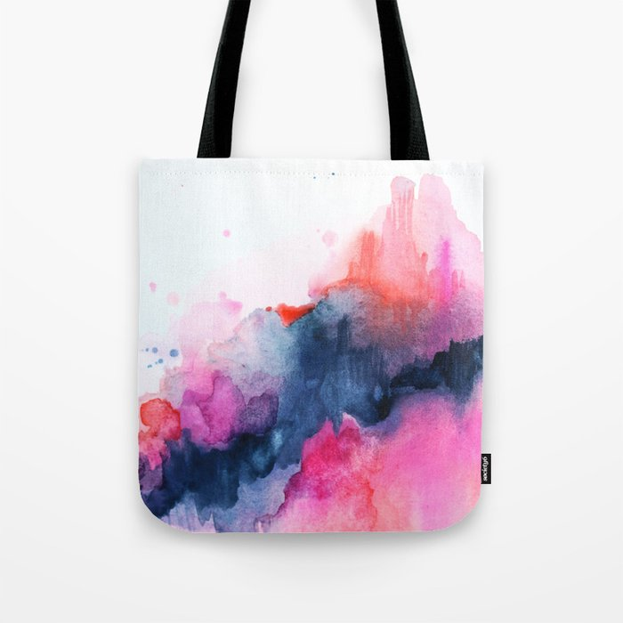 Abstract watercolor Orange Pink Tote Bag