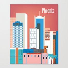 Phoenix, Arizona - Skyline Illustration by Loose Petals Canvas Print