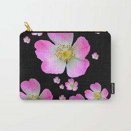 BLACK MONTAGE WILD PINK ROSES Carry-All Pouch