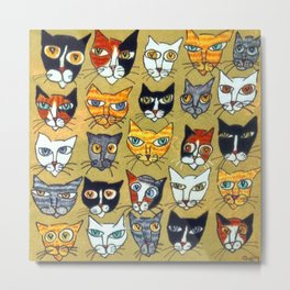25 Cat Heads Metal Print